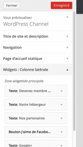 WordPress 3.9 - Prévisualisation des widgets en direct