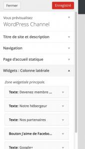 WordPress 3.9 - Prévisualisation des widgets en direct