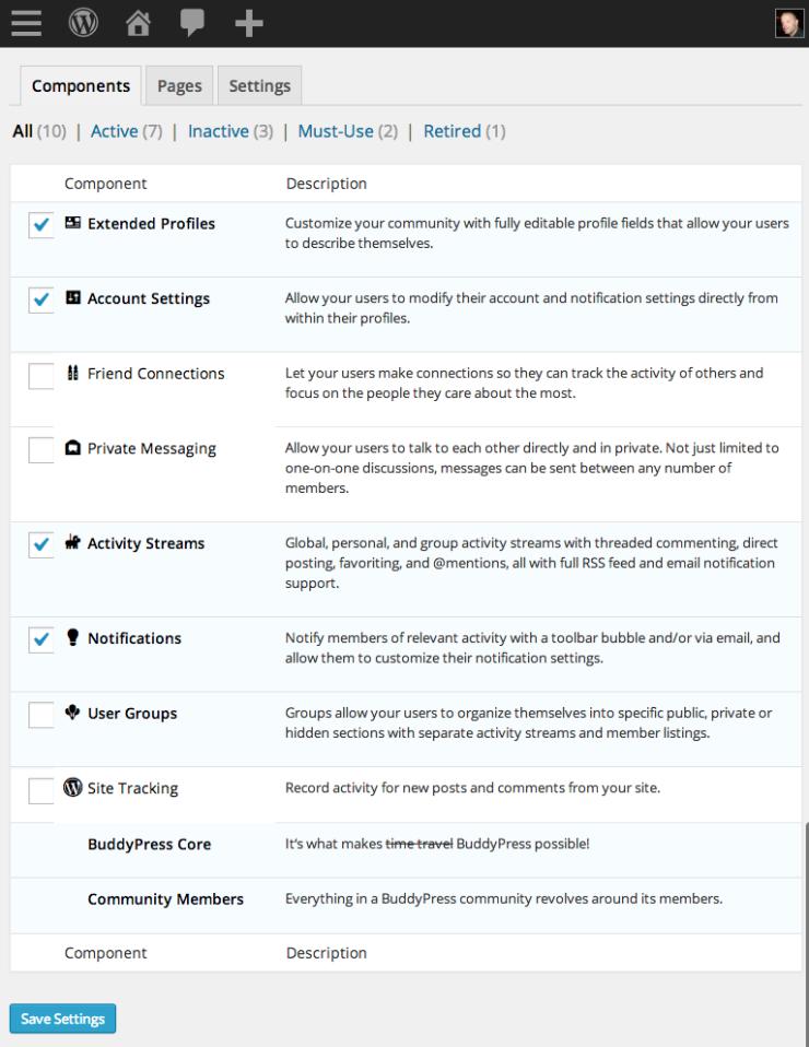 Liste des composants de BuddyPress