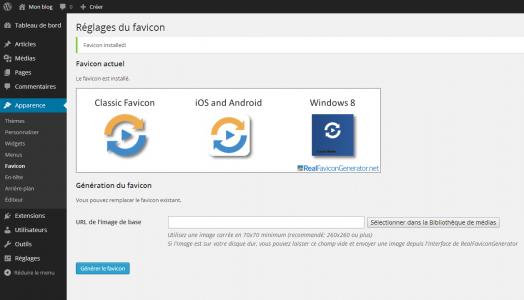 Une fois validé, vous êtes de nouveau redirigé vers WordPress. Le favicon s'installe automatiquement.