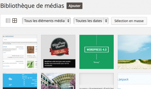 WordPress 4.0 - Vue en grille des médias
