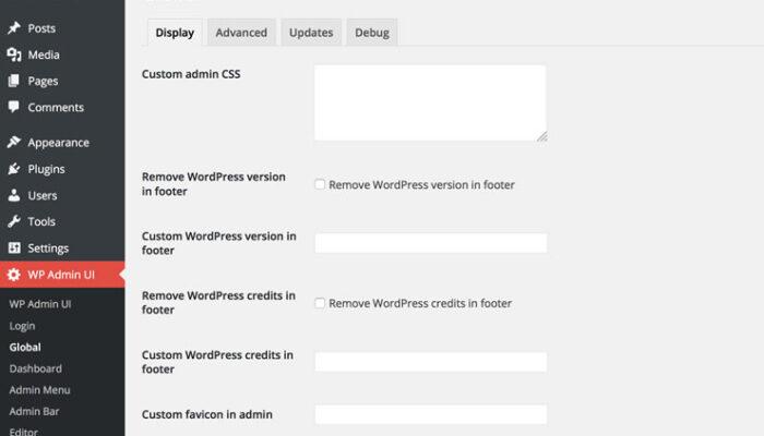 WP Admin UI - Options globales
