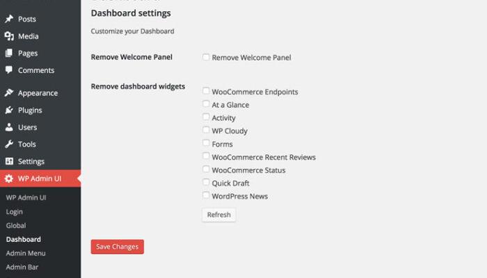WP Admin UI - Tableau de bord