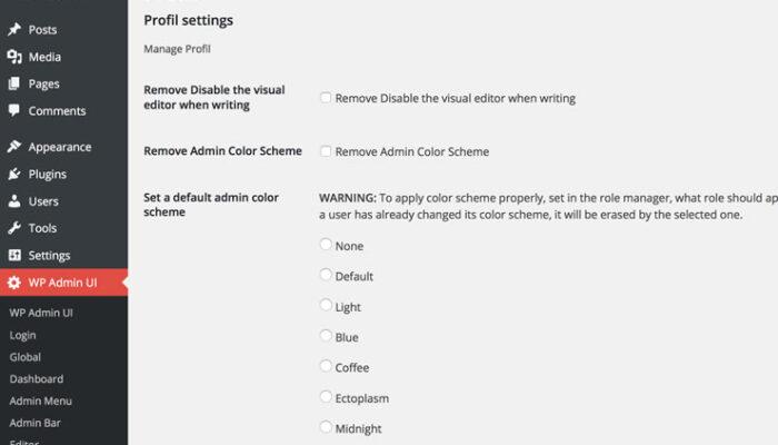 WP Admin UI - Profil utilisateur