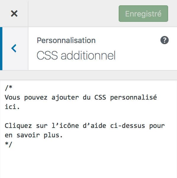 Ajouter du CSS additionnel sous WordPress