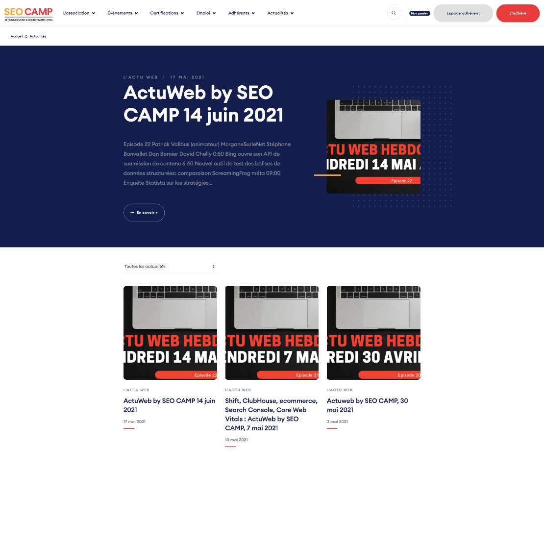 Page des articles du site SEO Camp