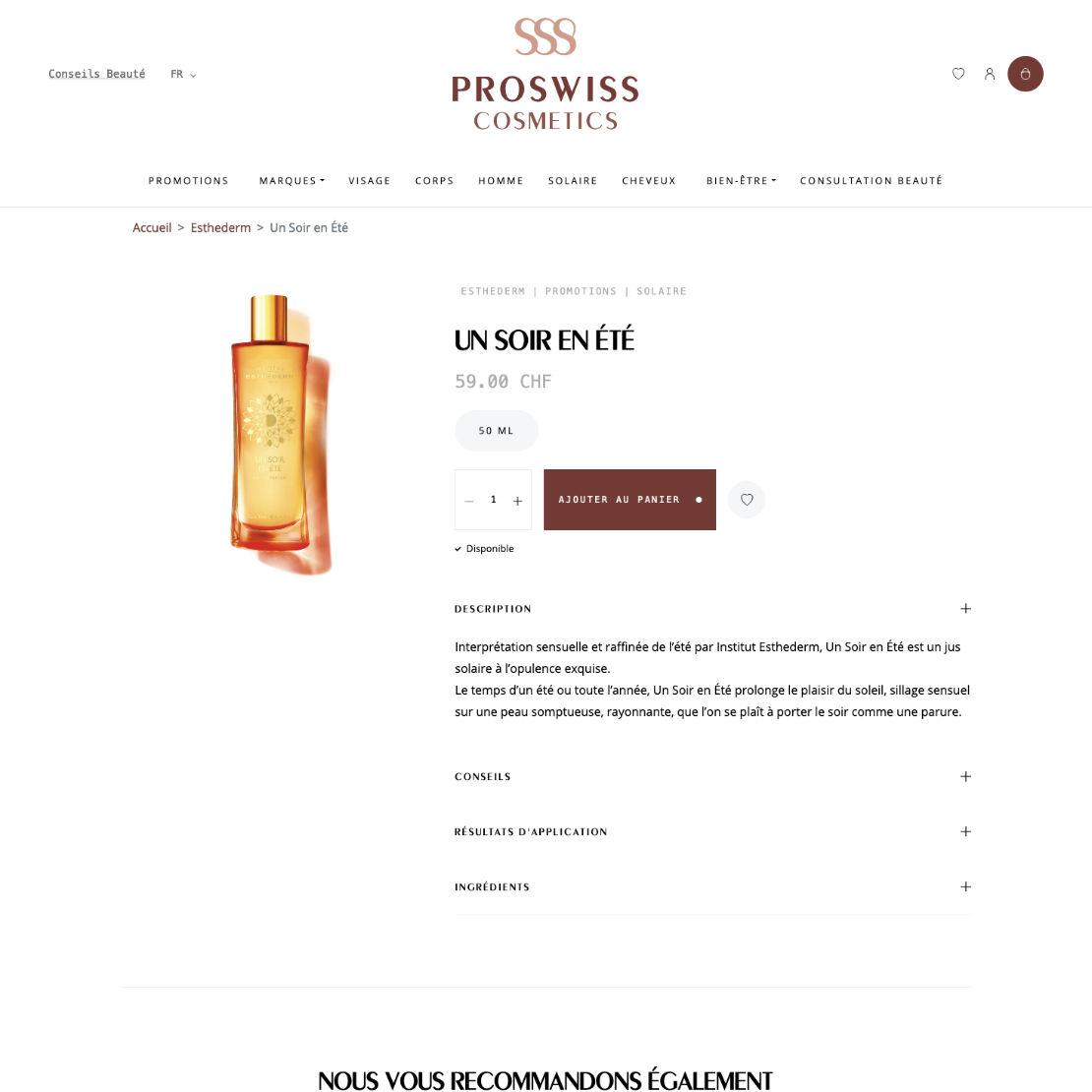 Page produit du site ProSwiss Cosmetics