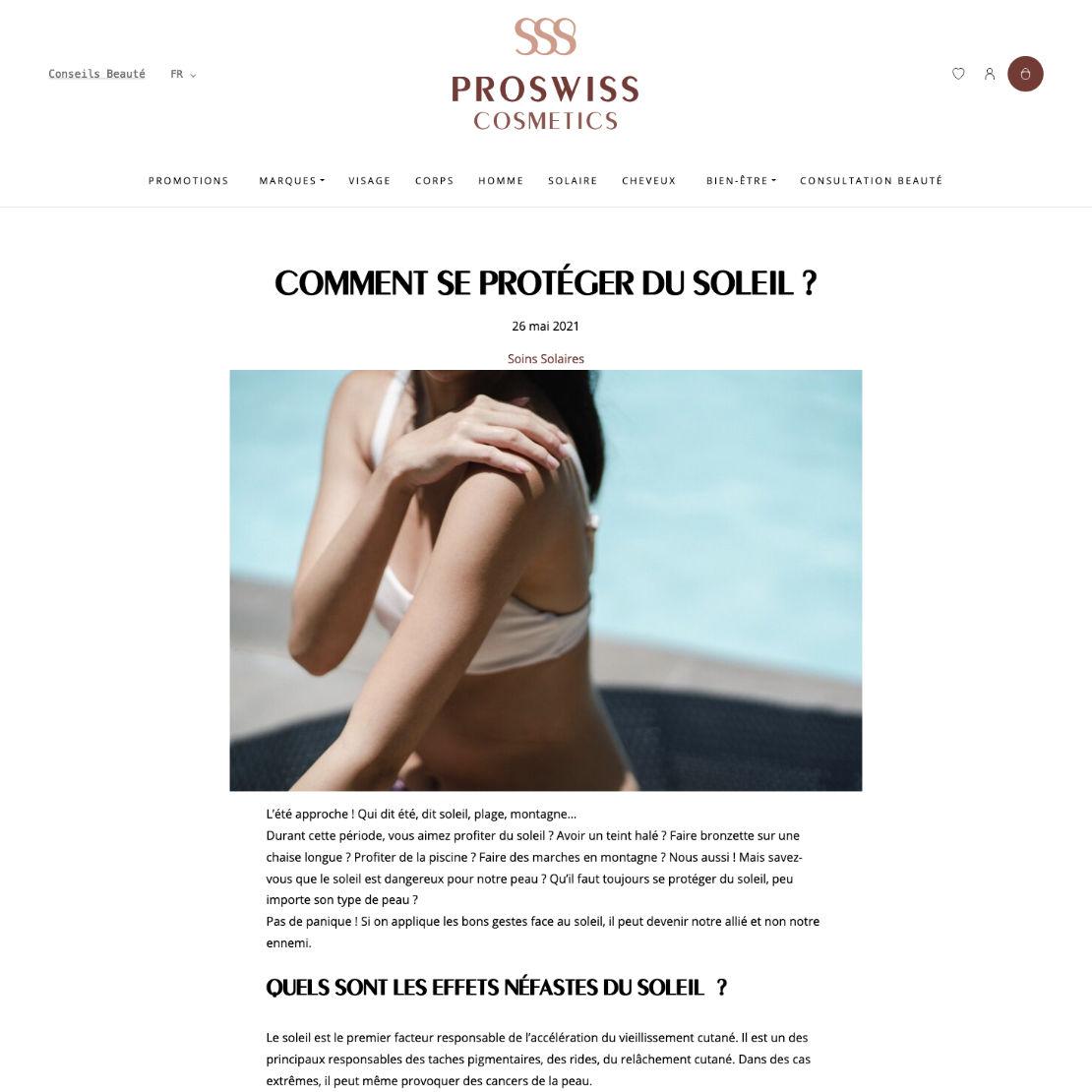 Page d'article de blog du site ProSwiss Cosmetics